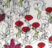 Poppy & Lotus, 2015, block printing on cotton, detail
