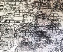 People are People, block printing on silk, 2015, detail